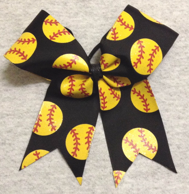 Black Softball Glitter Bow