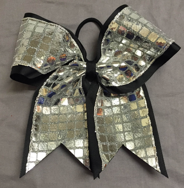 Black and Silver Disco Bow