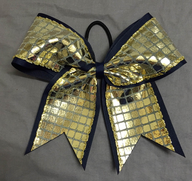 Navy Blue and Gold Disco Bow