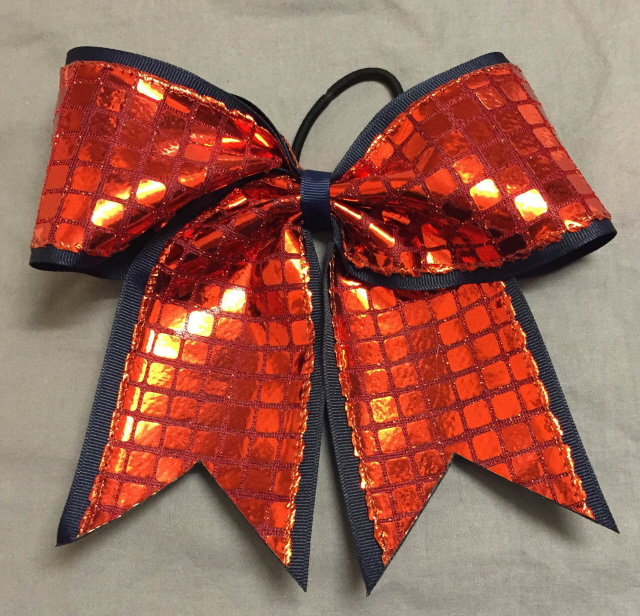 Navy Blue and Red Disco Bow