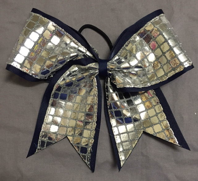 Navy Blue and Silver Disco Bow