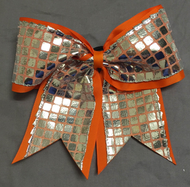 Orange and Silver Disco Bow