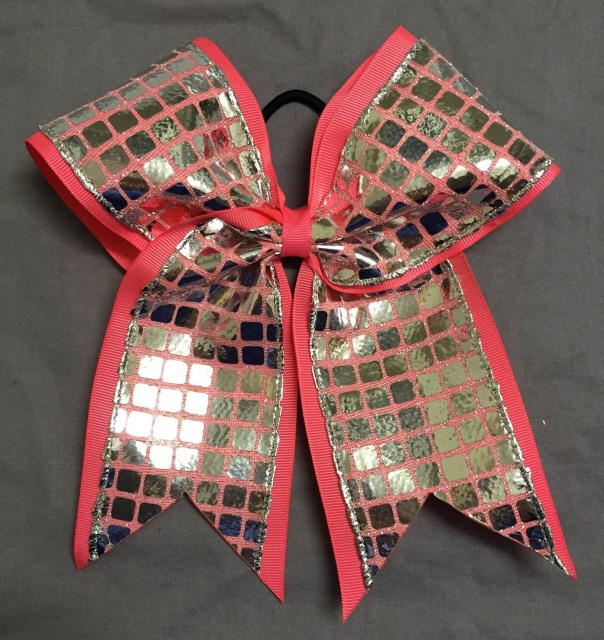 Pink and Silver Disco Bow