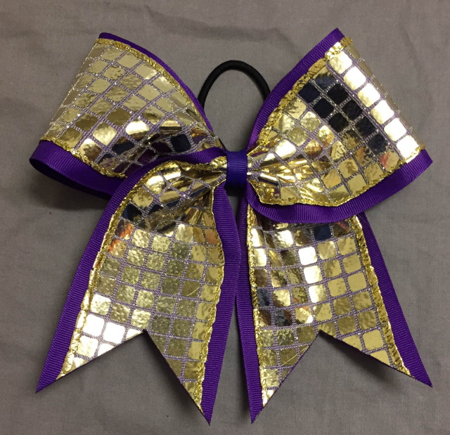 Purple and Gold Disco Bow