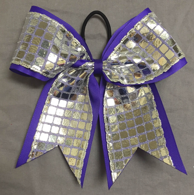Purple and Silver Disco Bow