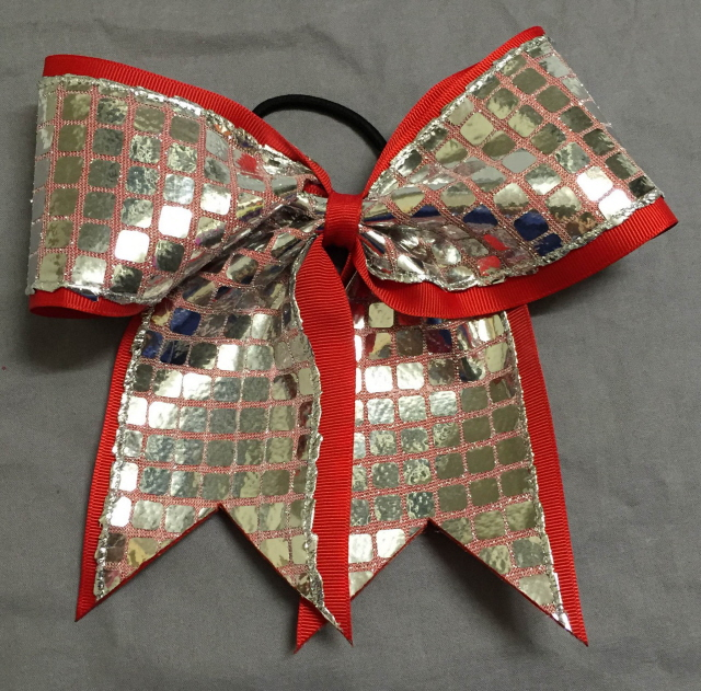 Red and Silver Disco Bow