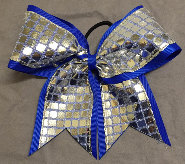 Royal Blue and Silver Disco Bow