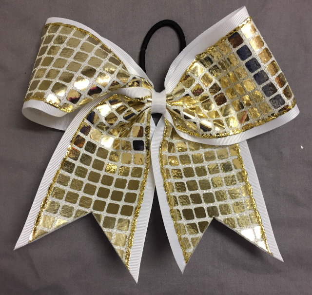 White and Gold Disco Bow