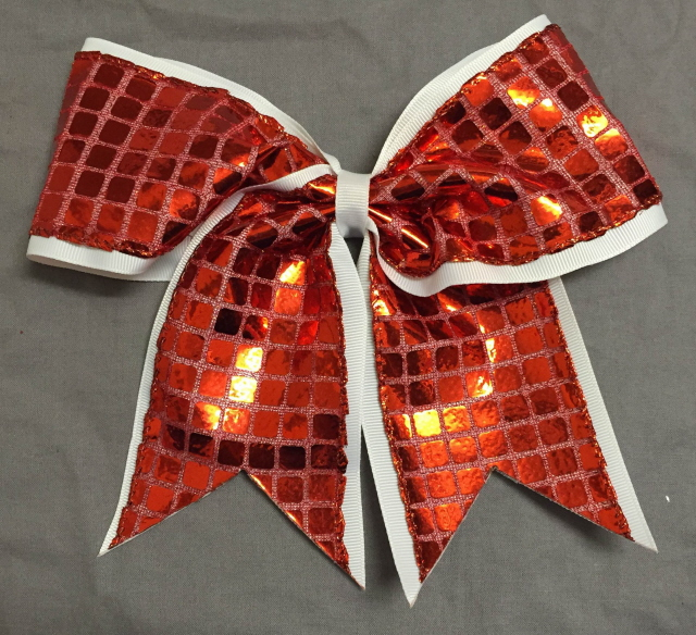 White and Red Disco Bow