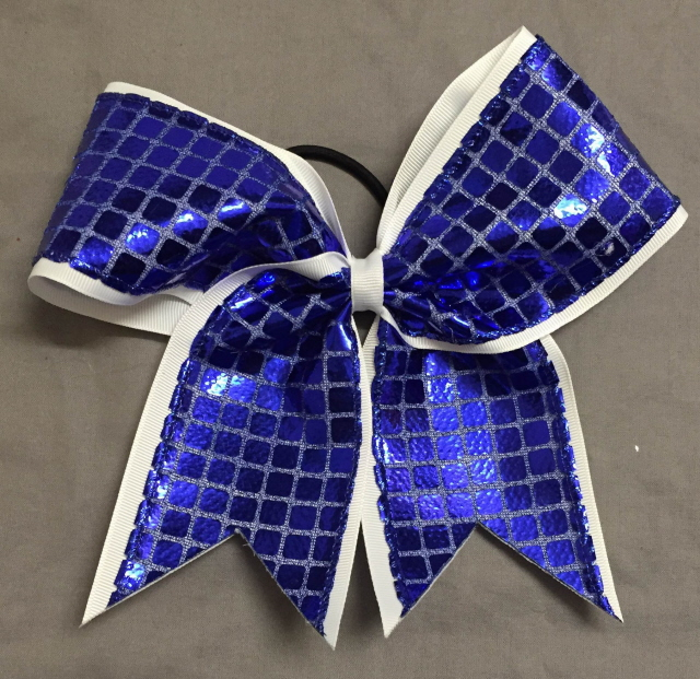 White and Royal Blue Disco Bow