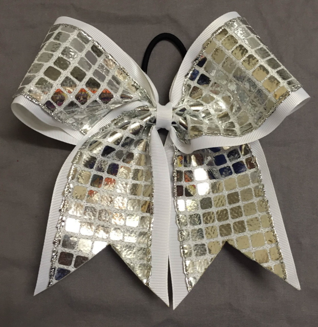 White and Silver Disco Bow