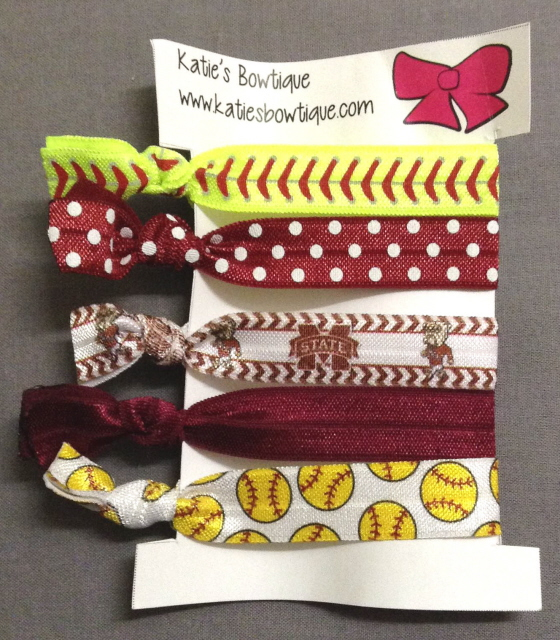 Mississippi State Bulldogs Softball FOE Elastic hairbands - set of 5