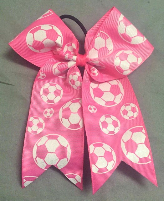 Pink Soccer Glitter Bow