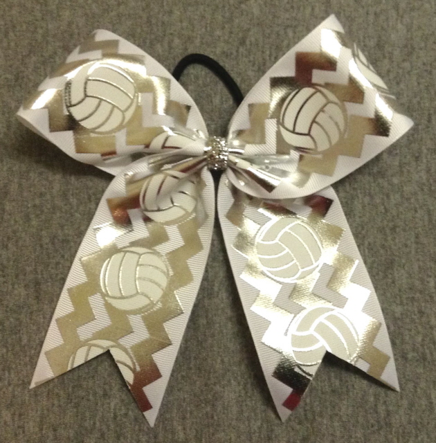 White Silver Chevron Volleyball Bow