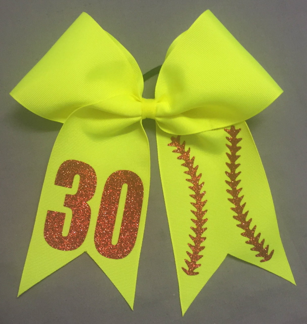 Yellow Softball Stitch Personalized Bow