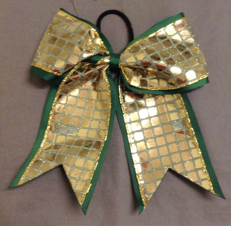 Green and Gold Disco Bow