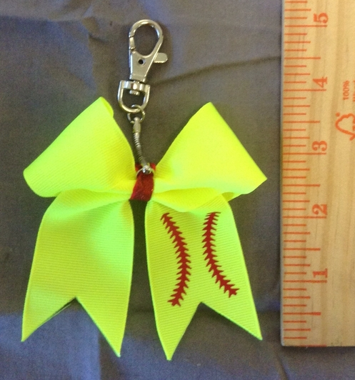 Softball Mini-Bow Keychain / Bag Tag