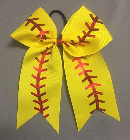 Yellow Softball with Red Holograms stitches
