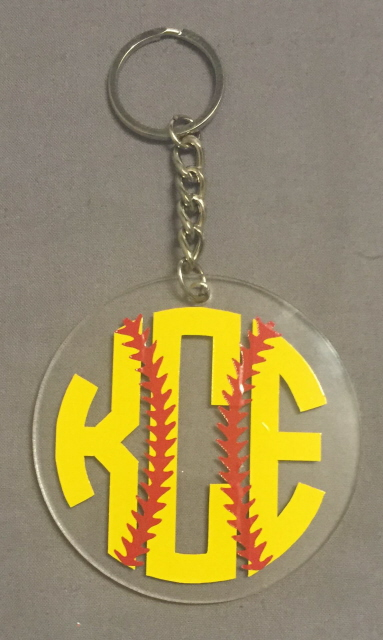 Softball Monogram Keychain
